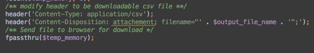 export to csv php